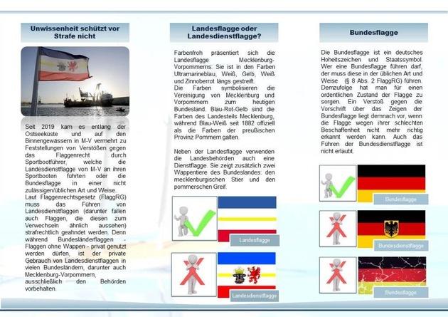 LWSPA M-V: Aufklärungsinformationen der Wasserschutzpolizei nach Verstößen gegen das Flaggenrecht durch Freizeitskipper